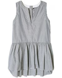 Tibi Striped Ruffle Peplum Top gray - Lyst