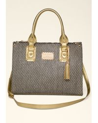 Bebe Carrie Contrast Straw Tote - Lyst