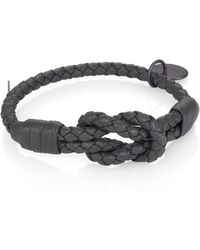 Bottega Veneta Intrecciato Knotted Leather Bracelet gray - Lyst