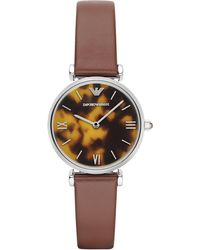 Emporio Armani Women'S Brown Leather Strap Watch 32Mm Ar1873 brown - Lyst