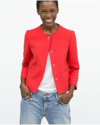 Zara Short Crepe Jacket - Lyst