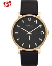 Marc By Marc Jacobs Women'S Baker Black Textured Leather Strap 37Mm Mbm1269 - Lyst