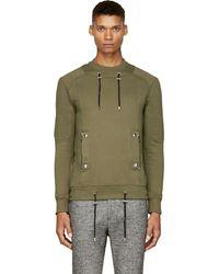 Balmain Khaki Ribbed Sweatshirt - Lyst