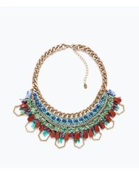 Zara Colored Stones And Chain Necklace - Lyst