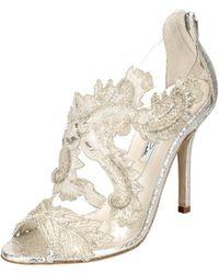 Oscar de la Renta Smoke Metallic Embroidered Ambria Sandals - Lyst
