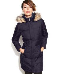 DKNY Hooded Faux-fur-trim Down Coat - Lyst