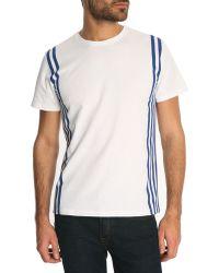 Maison Kitsuné White T-Shirt With Side Stripes - Lyst