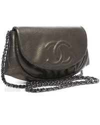 Chanel Pre-Owned Bronze Caviar Half Moon Woc Wallet On Chain - Lyst