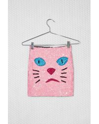 Nasty Gal Di$Count Tra$H Pink Kitty Sequin Skirt - Lyst
