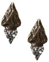 Pamela Love Archer Stud Earrings In Antique Brass With Champagne Diamond Pavé - Lyst