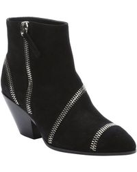 Giuseppe Zanotti Black Suede Zip Detailed Ankle Boots - Lyst
