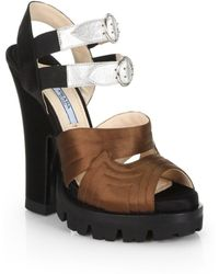 Prada Raso Bicolor Satin  Leather Sandals - Lyst