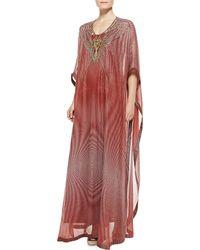 Diane Von Furstenberg Clare Beadtech Maxi Coverup Dress Lantern Dot Russt 12 - Lyst