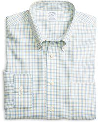 Brooks Brothers Non-iron Slim Fit Yellow Twin Check Sport Shirt - Lyst