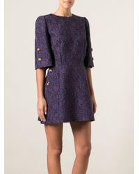 Dolce & Gabbana Purple Brocade Dress - Lyst