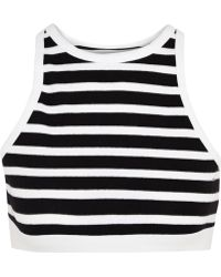 T By Alexander Wang Striped Stretch-cotton Bra Top - Lyst