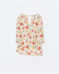Zara Floral Print Blouse - Lyst
