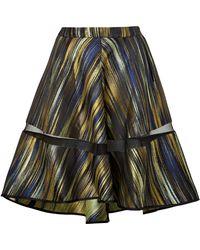 Ostwald Helgason Graphic Print Draped Skirt In Acid Yellow Brushstroke - 6 - Lyst