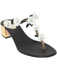 Rene Caovilla 40Mm Flowers On Metallic Leather Sandals - Lyst