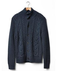Gap Lambswool Chunky Cable Mock Cardigan - Lyst