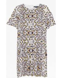 French Connection | Electric Mosaic Fluted Sleeve Dress | Lyst