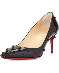 Christian Louboutin Degraspike Studded Leather Red Sole Pump red - Lyst