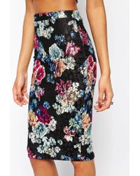 Lipsy - Floral Lace Bodycon Skirt - Lyst