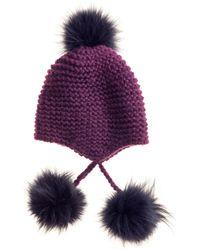 Inverni Knit Hat With Fur Pompoms - Lyst