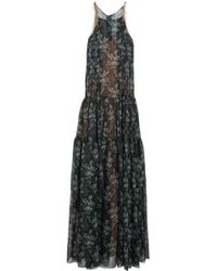 Vera Wang Tulle-Trimmed Floral-Print Silk-Gauze Gown - Lyst