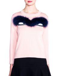 Fendi Wool & Fox Fur Bug-Eye Sweater pink - Lyst