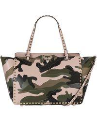Valentino Medium Rockstud Camouflage Patchwork Bag - Lyst