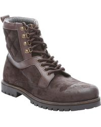 Ben Sherman Dark Brown Leather Quilted Detail Miller Boots - Lyst