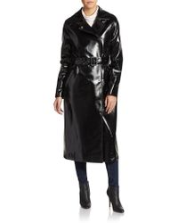 Dawn Levy Pippa Faux Leather Belted Coat - Lyst