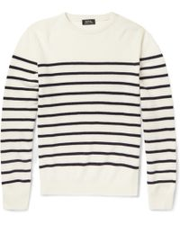 A.P.C. Striped Wool and Cashmere Sweater - Lyst