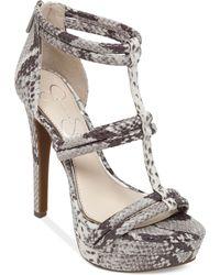 Jessica Simpson Solena T-Strap Platform Sandals gray - Lyst