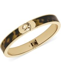 Michael Kors Gold-Tone Tortoise Logo Bangle Bracelet - Lyst