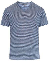 Vince Striped Linen-Knit T-Shirt - Lyst