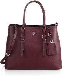 Prada Saffiano Cuir Medium Double Bag - Lyst
