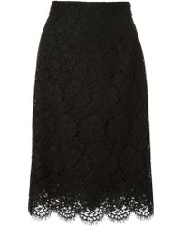 Dolce & Gabbana Floral Lace Skirt - Lyst
