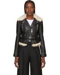 McQ by Alexander McQueen Black Shearling Leather Biker Jacket - Lyst