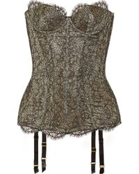 Agent Provocateur Shina Lace and Metallic Crepe Corset - Lyst