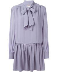 Saint Laurent Pussy Bow Blouse Dress - Lyst