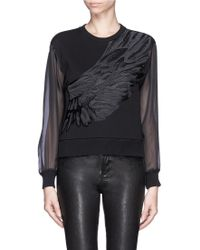 Mo&co. Edition 10 Silk Wing Embroidery Sweatshirt - Lyst