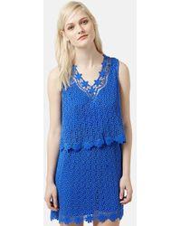 Topshop Crochet Overlay Dress blue - Lyst
