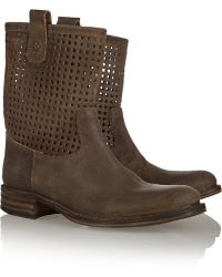 Fiorentini + Baker Emil Cutout Brushed-suede Boots - Lyst