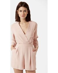 Topshop Wrap Front Romper pink - Lyst