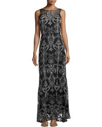 Vera Wang Scroll-embroidered Evening Gown Black - Lyst