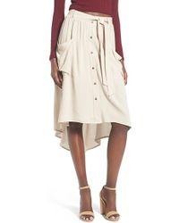 Lush - Button-Front Linen-Blend Midi Skirt - Lyst