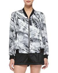 Helmut Lang Terrene Silk Marble-print Bomber Jacket - Lyst