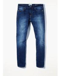 Mango Slim-fit Dark Wash Tim Jeans - Lyst